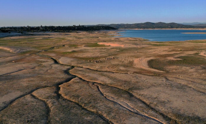 Aerial view shows low water levels at Folsom Lake in Granite Bay, Calif., on May 10, 2021. (Justin Sullivan/Getty Images)