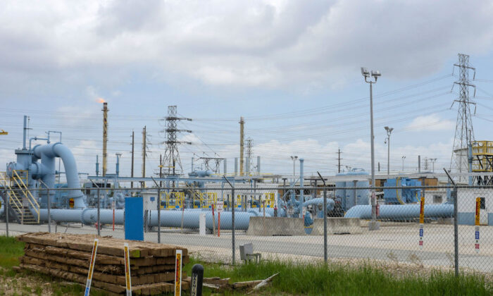 Image showing the Colonial Pipeline Houston Station facility in Pasadena, Texas, on May 10, 2021. (Francois Picard/AFP via Getty Images)
