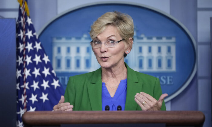 Secretary of Energy Jennifer Granholm briefs reporters at the White House in Washington on May 11, 2021. (Drew Angerer/Getty Images)
