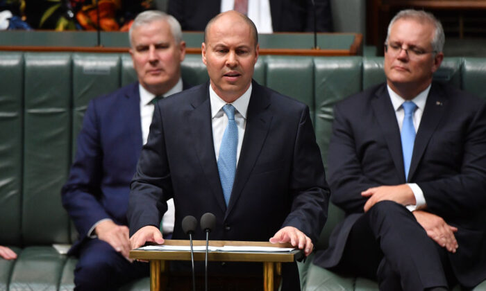 Treasurer Josh Frydenberg delivers the budget in the House of Representatives on May 11, 2021 in Canberra, Australia. (Sam Mooy/Getty Images)