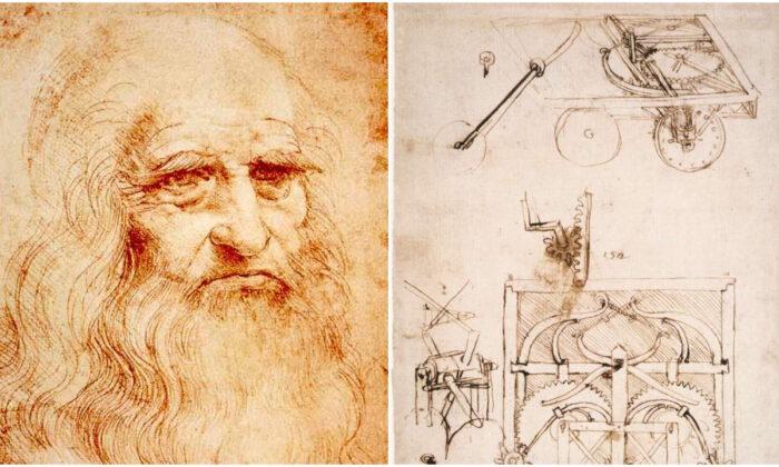 (L) Presumed self-portrait of Leonardo da Vinci, circa 1510-1515. (R) Sketches of an automobile by Leonardo da Vinci, circa 1480. (Public domain)
