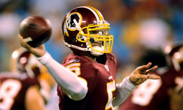Colt Brennan is seen in an August, 23, 2008 file photo in Charlotte, North Carolina. (Photo by Steve Dykes/Getty Images)