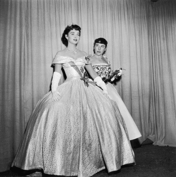 modeling hepburns dress with designer