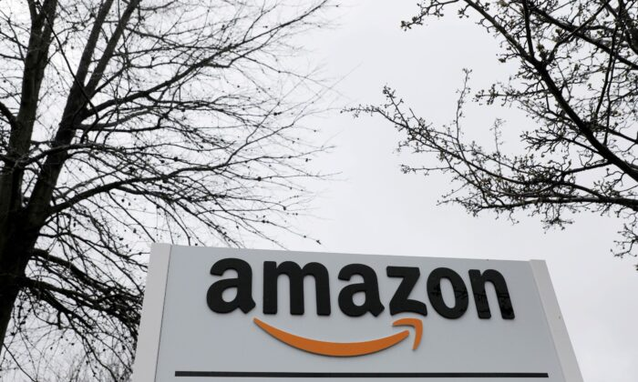 Signage is seen at an Amazon facility in Bethpage on Long Island, N.Y., on March 17, 2020. (Andrew Kelly/Reuters)