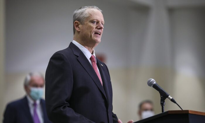 Massachusetts Governor Charlie Baker speaks to the press at the Hynes Convention Center FEMA Mass Vaccination Site in Boston, Mass., on March 30, 2021. (Erin Clark-Pool/Getty Images)
