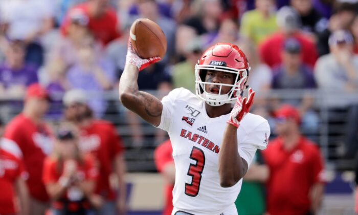 Eastern Washington quarterback Eric Barriere passes against Washington in the first half of an NCAA college football game in Seattle, on Saturday, Aug. 31, 2019.  (Elaine Thompson/AP Photo File)