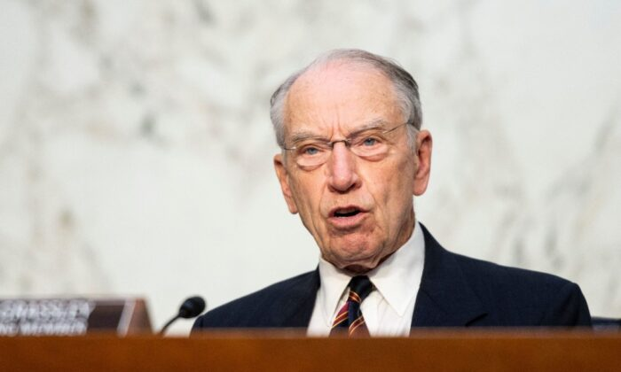 Sen. Chuck Grassley (R-Iowa) speaks during a Senate Judiciary Committee hearing on voting rights on Capitol Hill in Washington on April 20, 2021. (Bill Clark/POOL/AFP via Getty Images)