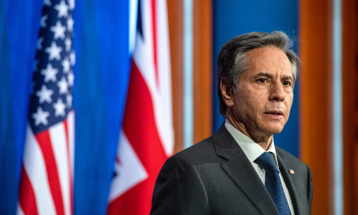 U.S. Secretary of State, Antony Blinken, during a press conference in London on May 3, 2021. (Chris J Ratcliffe/Getty Images)