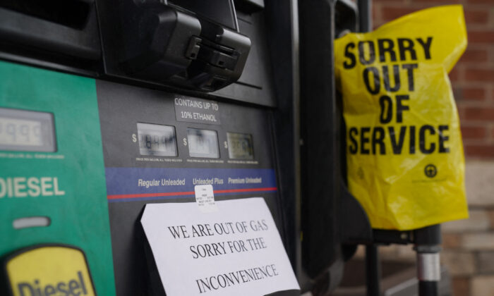 A sign tells customers that no gas is available at a gas station in Smyrna, Georgia, on May 11, 2021. (Elijah Nouvelage/AFP via Getty Images)