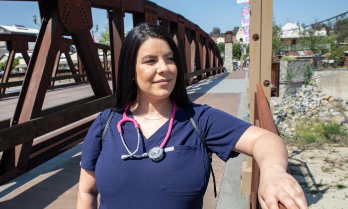 Nurse Joei Bianca in Temecula, Calif., on May 8, 2021. (John Fredricks/The Epoch Times)