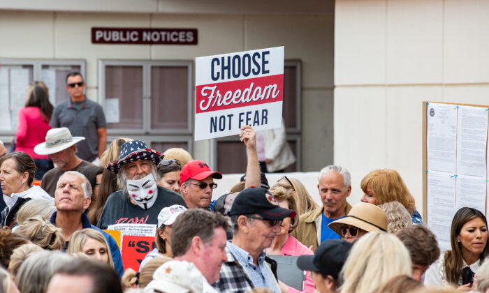 People gather to protest vaccine passports at the Orange County Civic Center in Santa Ana, Calif., on May 11, 2021. (John Fredricks/The Epoch Times)