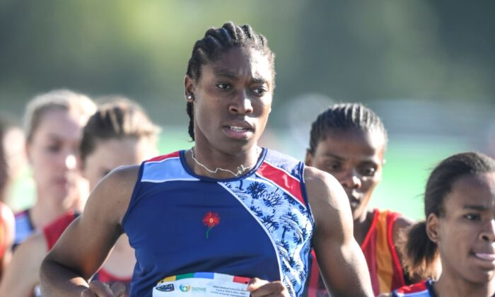 South African long distance athlete Caster Semenya is on her way to winning the 5,000 meters at the South African national championships in Pretoria, South Africa, on April 15, 2021. (Christiaan Kotze/AP Photo)
