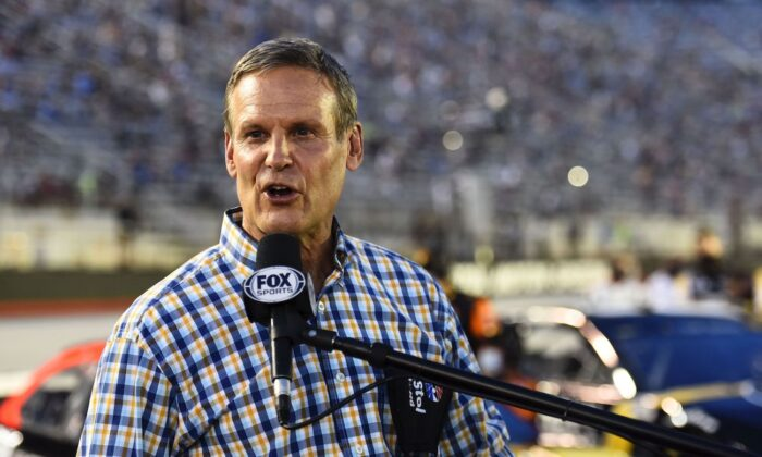 Tennessee Governor Bill Lee gives the command to start engines prior to the NASCAR Cup Series All-Star Race at Bristol Motor Speedway in Bristol, Tenn., on July 15, 2020. (Jared C. Tilton/Getty Images)