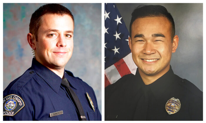 (R) Officer Jimmy Inn who was shot and killed in the line of duty while on a domestic dispute call on La Cresta Way in Stockton, Calif., on May 11, 2021. (Stockton Police Department via AP)                            (L) This undated photo shows San Luis Obispo Police Det. Luca Benedetti, who was shot and killed while serving a search warrant, on May 10, 2021, in a shootout in the Central Coast city, officials said afternoon, May 11, 2021. (San Luis Obispo Police Department via AP)