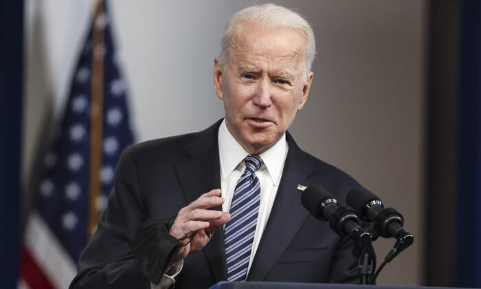 President Joe Biden delivers remarks from the South Court Auditorium at the White House in Washington on May 12, 2021. (Oliver Contreras/Sipa USA)