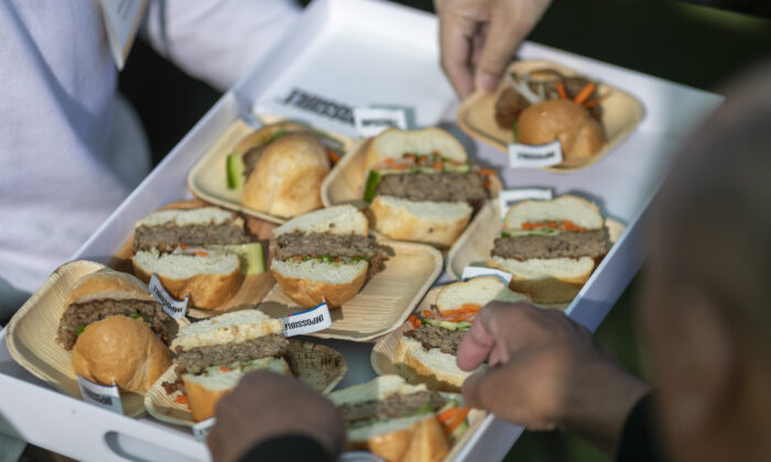 Impossible Pork, a new plant-based pork product by Impossible Foods, is served at the 2020 Consumer Electronics Show (CES) in Las Vegas, Nev., on Jan. 9, 2020. (David McNew/AFP via Getty Images)