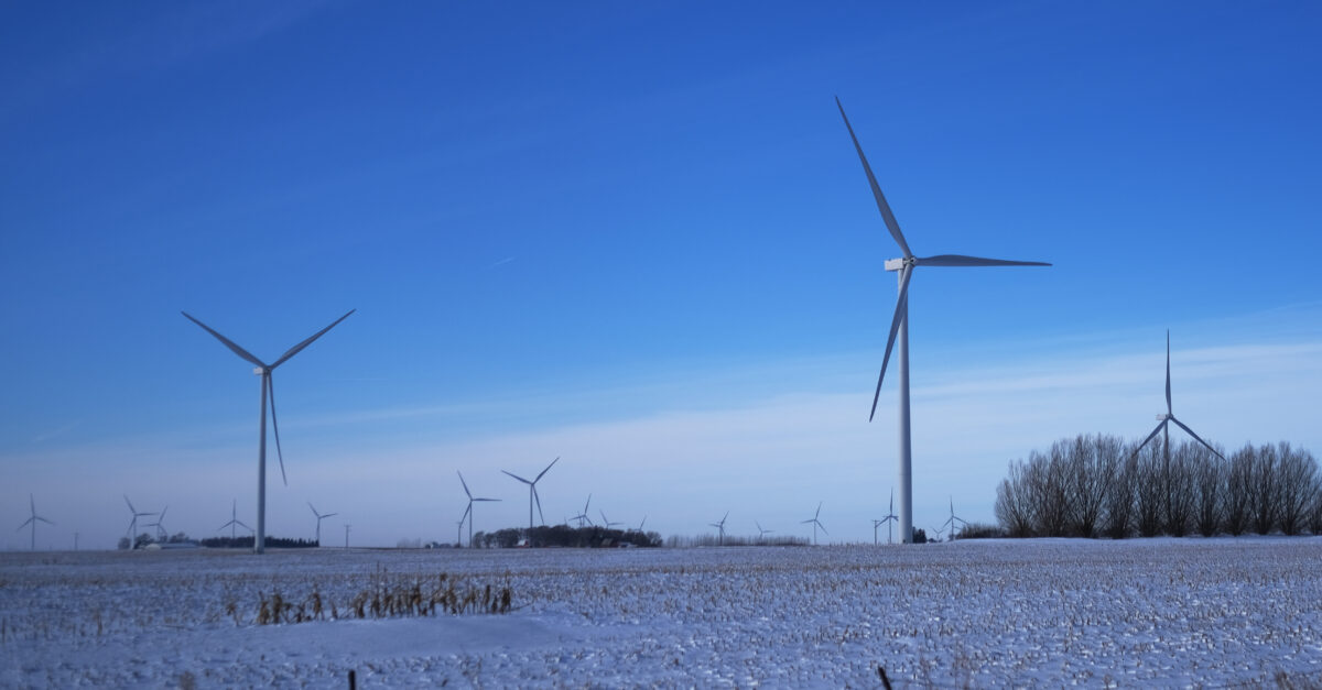 A wind farm, used to generate wind power