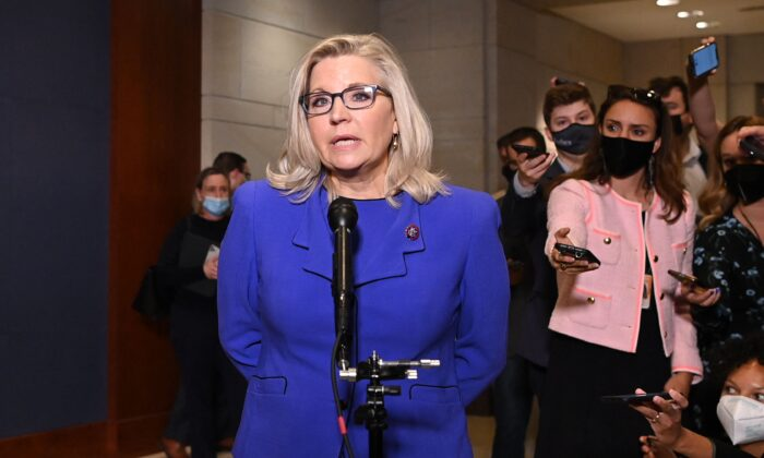 Representative Liz Cheney, Republican of Wyoming, speaks to the media at the US Capitol in Washington, DC, on May 12, 2021. (Mandel Ngan/AFP via Getty Images)