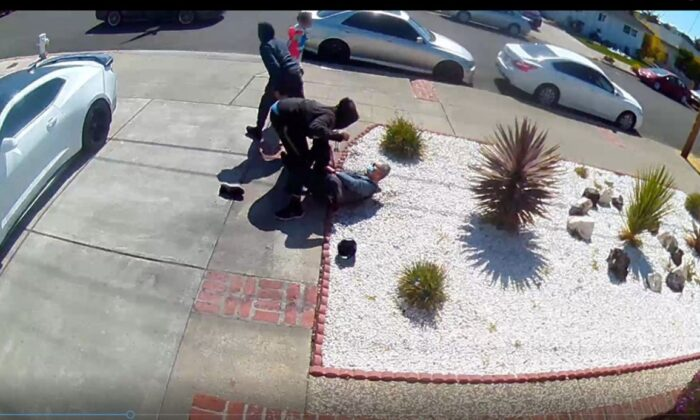Video released by police showed the assault and robbery of an 80-year-old Asian man knocked to the ground in San Leandro, Calif., on May 8, 2021. (San Leandro Police Department)