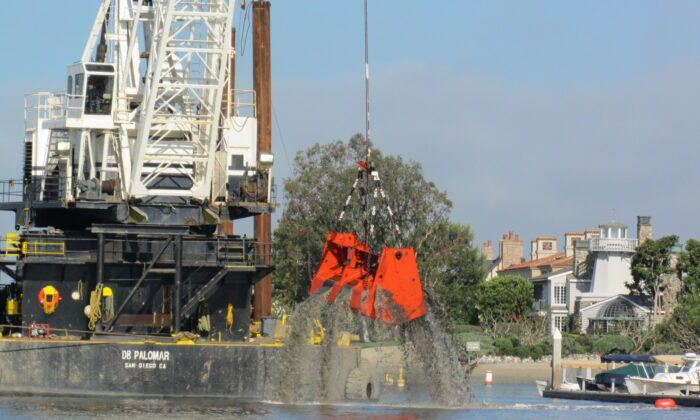 Dredging in Newport Harbor. (Courtesy of the U.S. Army Corps of Engineers)