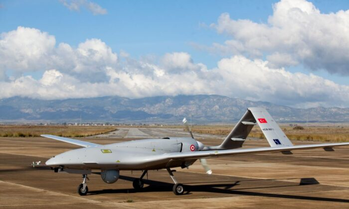 The Turkish-made Bayraktar TB2 drone at Gecitkale military airbase near Famagusta in the self-proclaimed Turkish Republic of Northern Cyprus, on Dec. 16, 2019. (Birol Bebek/AFP via Getty Images)