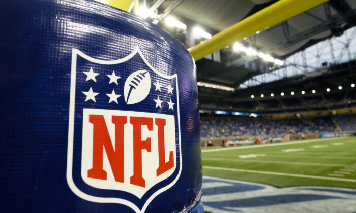 The NFL Logo is seen on the goal post padding before an NFL preseason football game between the Detroit Lions and the New York Jets at Ford Field in Detroit, Mich., on Aug. 13, 2015. (Rick Osentoski/AP Photo)