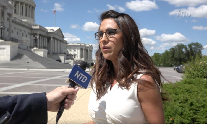 In a still from a video by NTD, Rep. Lauren Boebert (R-Colo.) speaks to an NTD reporter at the U.S. Capitol in Washington, on May 12, 2021. (NTD)