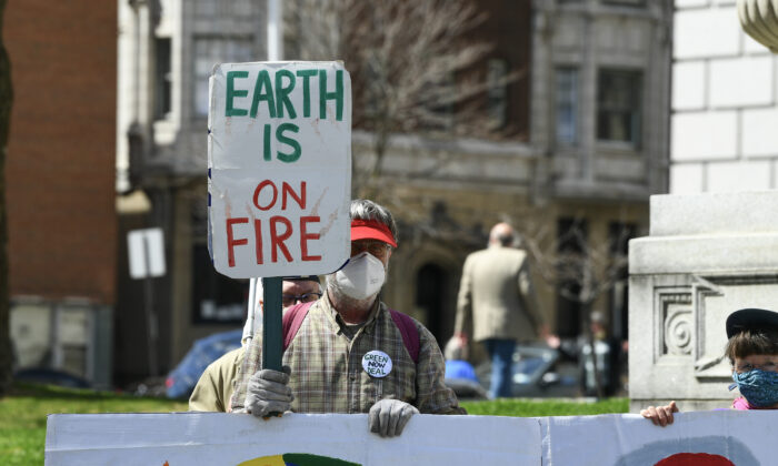 A climate activist in Albany, N.Y., on April 7, 2021. (Dave Kotinsky/Getty Images for Green New Deal Network)