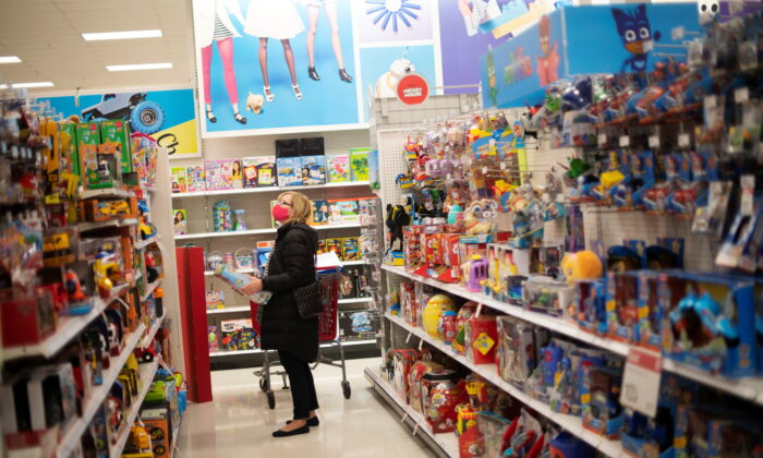 A shopper browses toys at a Target store in King of Prussia, Pa., on Nov. 20, 2020. (Mark Makela/Reuters)