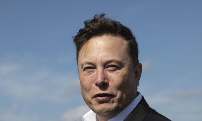 Tesla head Elon Musk talks to the press near Berlin on Sept. 3, 2020. (Maja Hitij/Getty Images)
