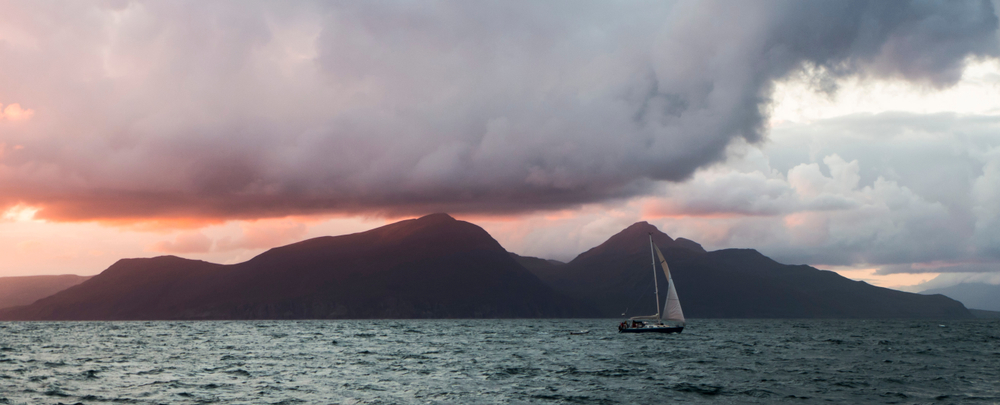 Sailing,Boat,Of,Isle,Of,Eigg,In,The,Evening,With