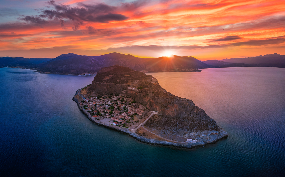 Iconic,Aerial,View,Of,Monemvasia,Rock,At,Sunset
