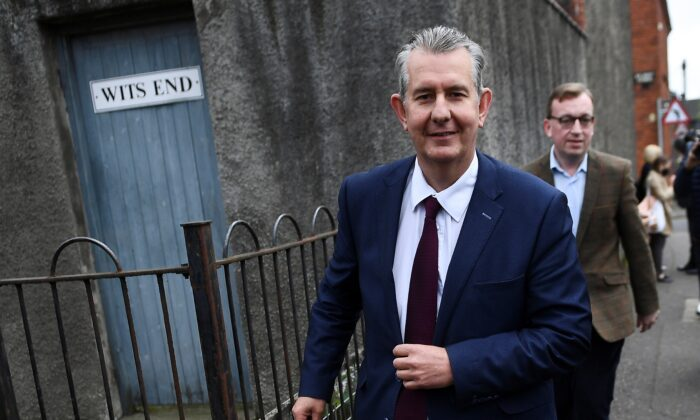 Northern Ireland's agriculture minister Edwin Poots walks outside the Democratic Unionist Party (DUP) headquarters during a vote to replace former First Minister Arlene Foster in Belfast, Northern Ireland, Britain, on May 14, 2021. (Clodagh Kilcoyne/Reuters)