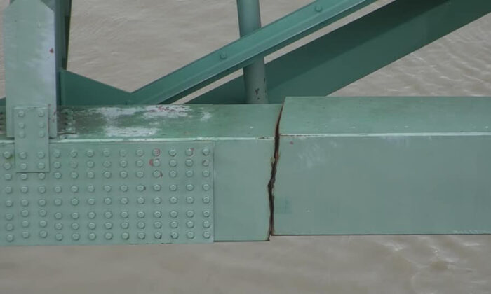 A crack is in a steel beam on the Interstate 40 bridge, near Memphis, Tenn. (Tennessee Department of Transportation via AP)