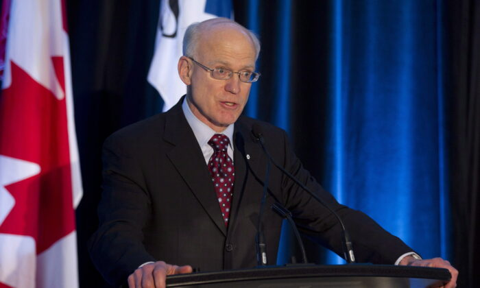 Business executive Gwyn Morgan speaks at an event in Toronto on May 3, 2012. (Frank Gunn/The Canadian Press)