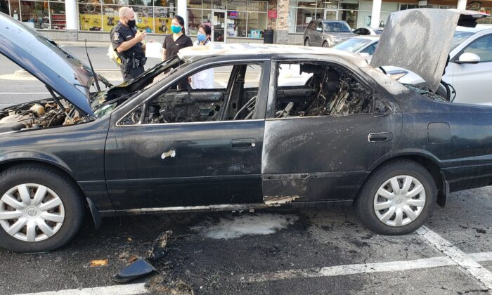 A fire official in Maryland is issuing a warning to people after a Maryland motorist's vehicle caught on fire after he used hand sanitizer while smoking a lit cigarette. (Montgomery County Fire Department)