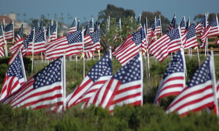 The Field of Honor consists of 1,776 large American flags erected along the paths and cliffs at Castaways Park overlooking Newport Harbor. (Courtesy of the Exchange Club of Newport Harbor)