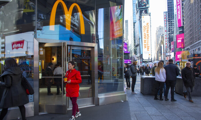 A person exits a McDonald's restaurant in Times Square in New York City on Nov. 4, 2019. (Kena Betancur/Getty Images)