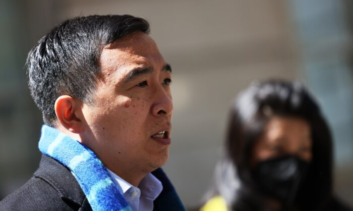 New York City mayoral candidate Andrew Yang speaks to reporters in New York City on May 11, 2021. (Michael M. Santiago/Getty Images)