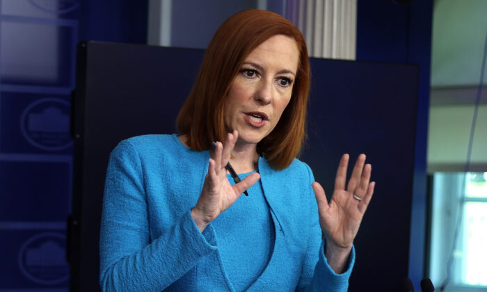 White House Press Secretary Jen Psaki speaks during a daily press briefing on May 13, 2021. (Alex Wong/Getty Images)