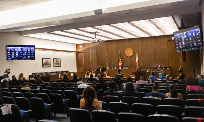 A hearing takes place in the Orange County Central Justice Center in Santa Ana, Calif., on Sept. 18, 2020. (John Fredricks/The Epoch Times)