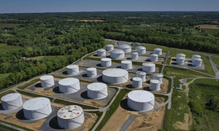 In an aerial view, fuel holding tanks are seen at Colonial Pipeline's Dorsey Junction Station in Washington on May 13, 2021. (Drew Angerer/Getty Images)