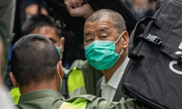 Jimmy Lai, Apple Daily founder, arrives at the Court of Final Appeal ahead a bail hearing in Hong Kong, China, on Feb. 9, 2021. (Anthony Kwan/Getty Images)