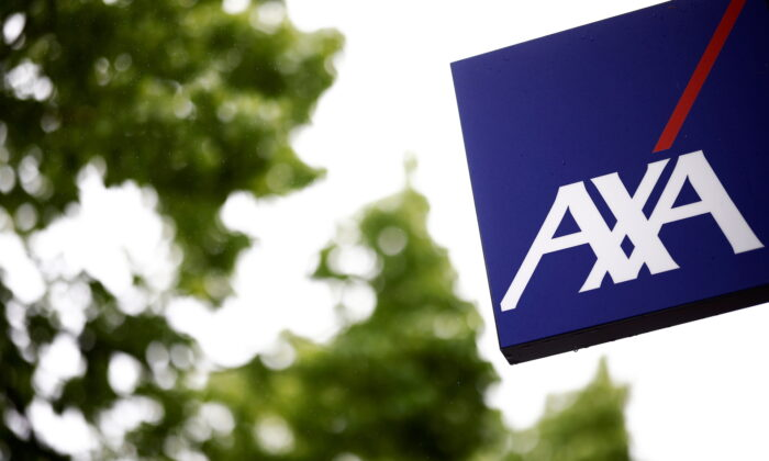 The logo of French Insurer Axa is seen outside a building in Les Sorinieres near Nantes, France on May 4, 2021. (Stephane Mahe/Reuters)