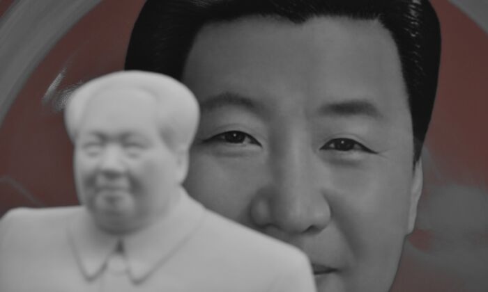 A decorative plate featuring an image of Chinese leader Xi Jinping is seen behind a statue of late communist leader Mao Zedong at a souvenir store next to Tiananmen Square in Beijing, China on Feb. 27, 2018. (GREG BAKER/AFP via Getty Images)