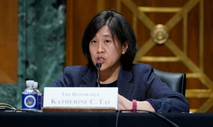 Trade Representative Katherine Tai testifies before the Senate Finance Committee on Capitol Hill in Washington, on May 12, 2021. (Susan Walsh/Pool/AFP via Getty Images)