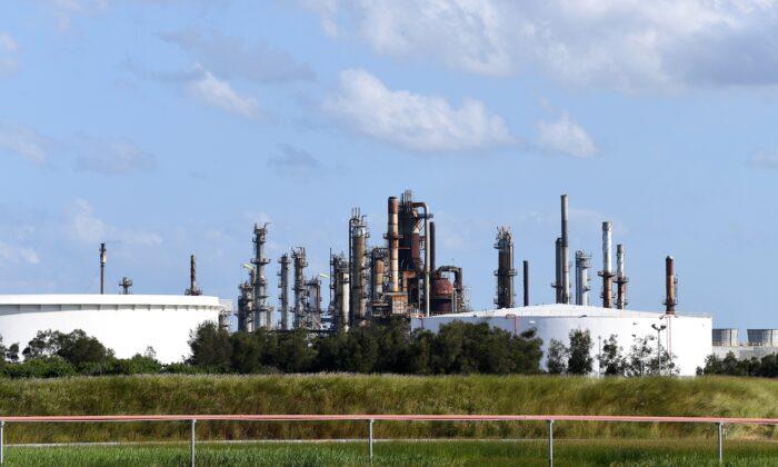 The Ampol fuel refinery in Brisbane, Monday, April 6, 2020. (AAP Image/Dan Peled)