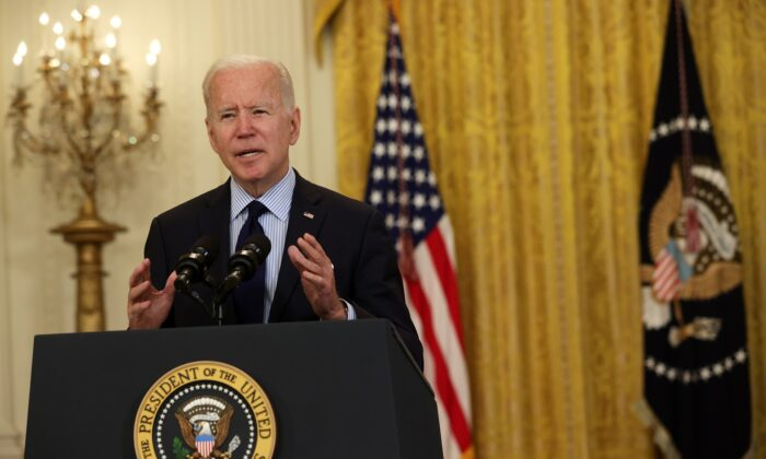 President Joe Biden speaks on job numbers from April 2021 at the East Room of the White House in Washington on May 7, 2021. (Alex Wong/Getty Images)