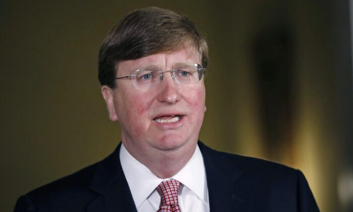 Mississippi Republican Gov. Tate Reeves at the Governor's Mansion in Jackson, Mississippi on June 30, 2020. (Rogelio V. Solis-Pool/Getty Images)