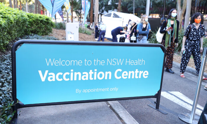 A general view of the NSW Health Vaccination Centre in Sydney Olympic Park in Sydney, Australia on May 10, 2021. (Mark Kolbe/Getty Images)